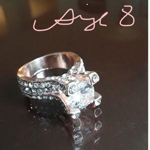 Rose Gold Tone White Topaz Wedding Ring